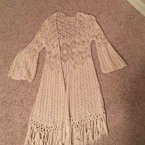 Buckle crocheted fringed duster / knee length